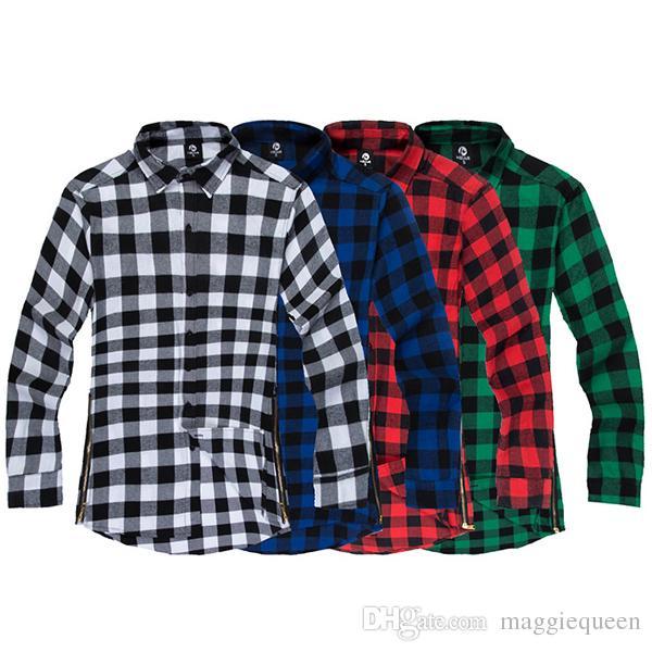 mens plaid shirts hip hop streetwear long sleeve side zipper flannel shirts  oversized extended JDYSIQA