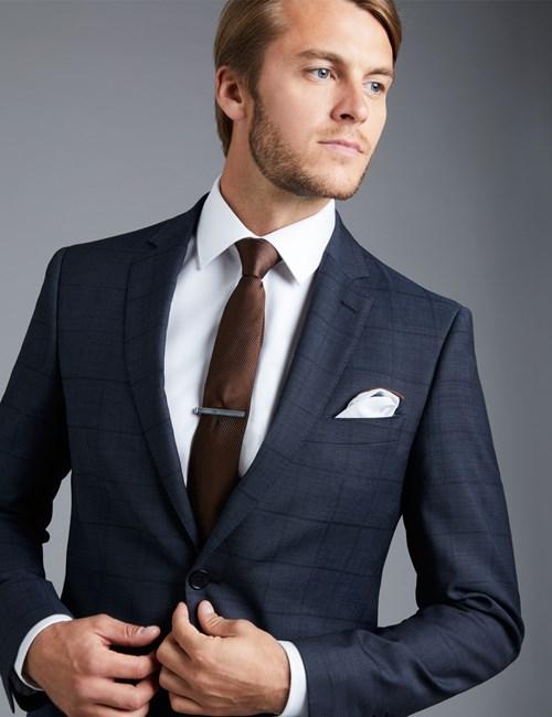 mens suits menu0027s blue textured tonal check slim fit suit jacket PZGSQKN