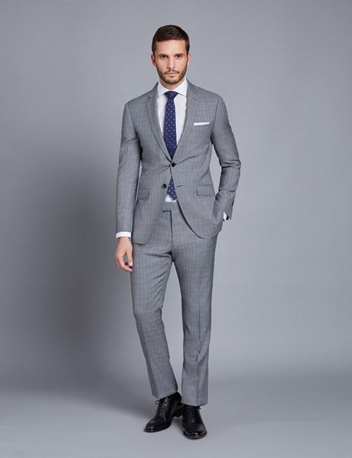 mens suits menu0027s grey u0026 light blue small check slim ... GRQHYKO