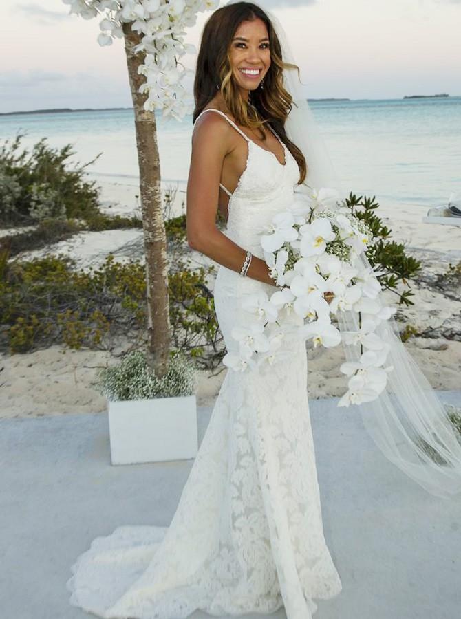 mermaid spaghetti straps backless lace beach wedding dress ACQJKRW