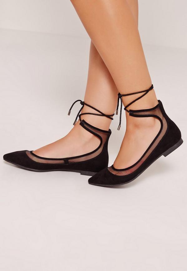 mesh lace up ballerina shoes black YXGLFAQ
