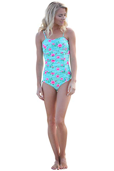 modest swimsuits mikarose paige one-piece modest swimsuit in mint floral print - xs JHUVJDI