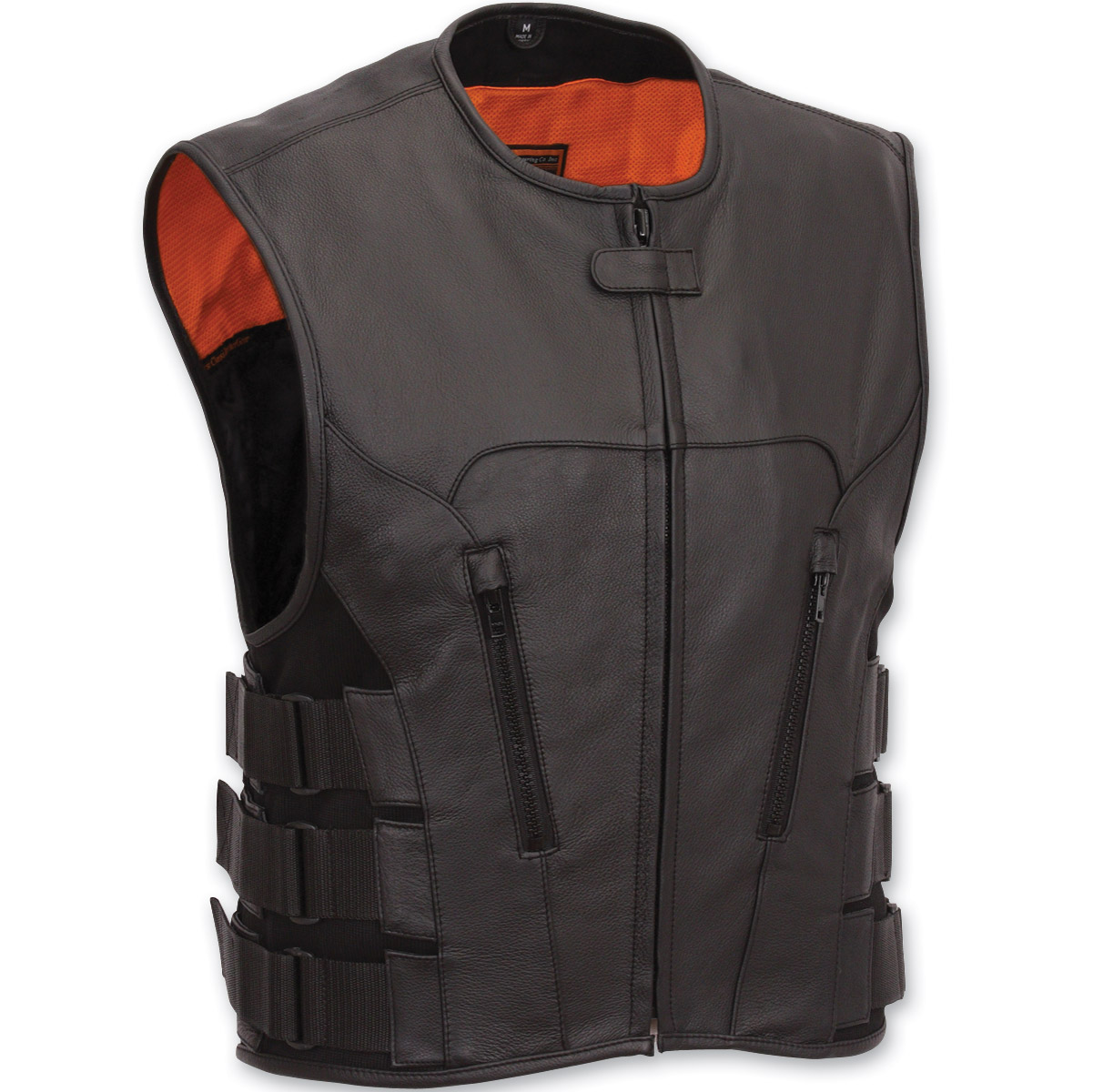 Motorcycle Vest first manufacturing co. menu0027s swat team style leather vest SDSITDF