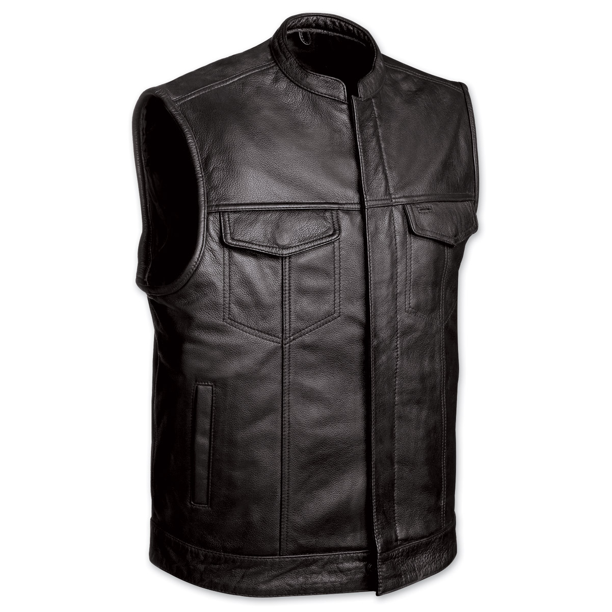 Motorcycle Vest menu0027s club motorcycle black leather vest BFKVHNH