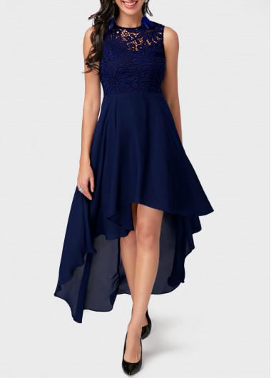 Navy Blue Dress high low lace panel navy blue dress LZRJKHZ