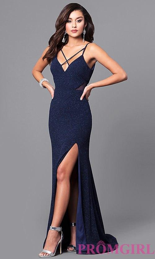 Navy Blue Dress image of glitter navy blue long prom dress with open back. style: dmo- WRAPTIK