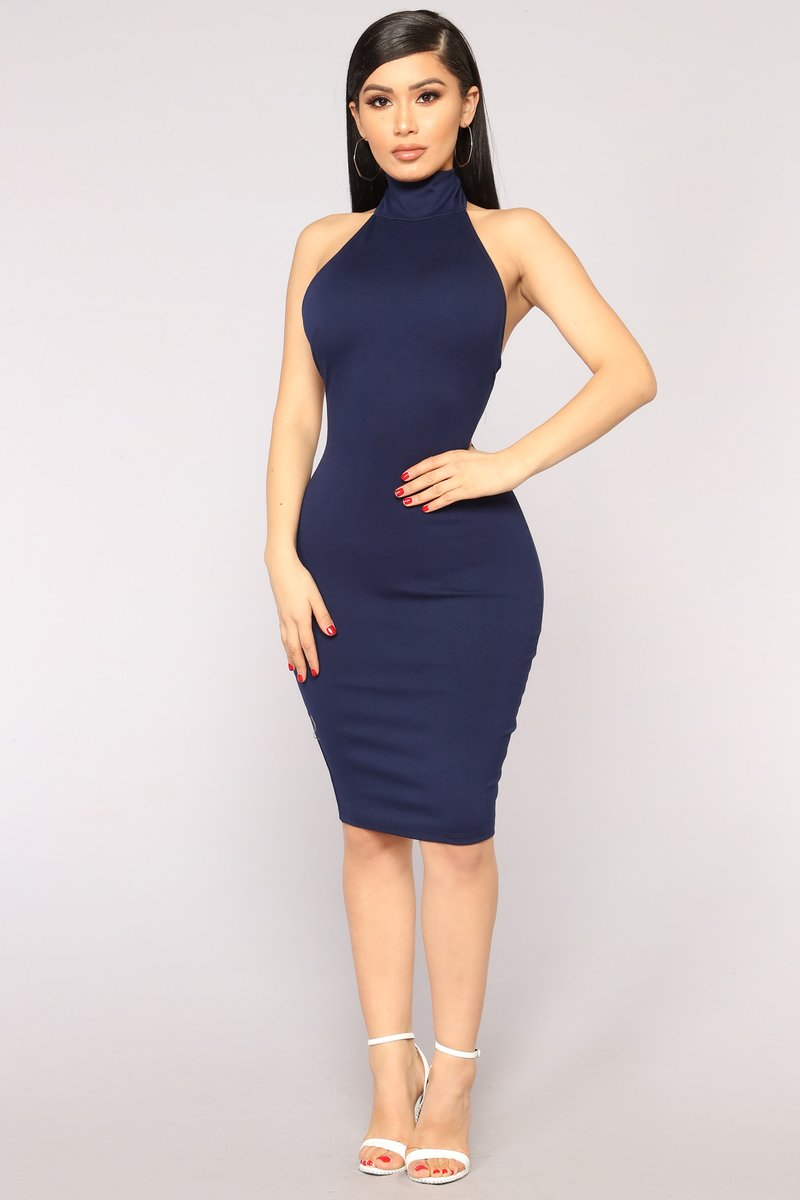 Navy Blue Dress kassie high neck dress - navy XOKBFFZ