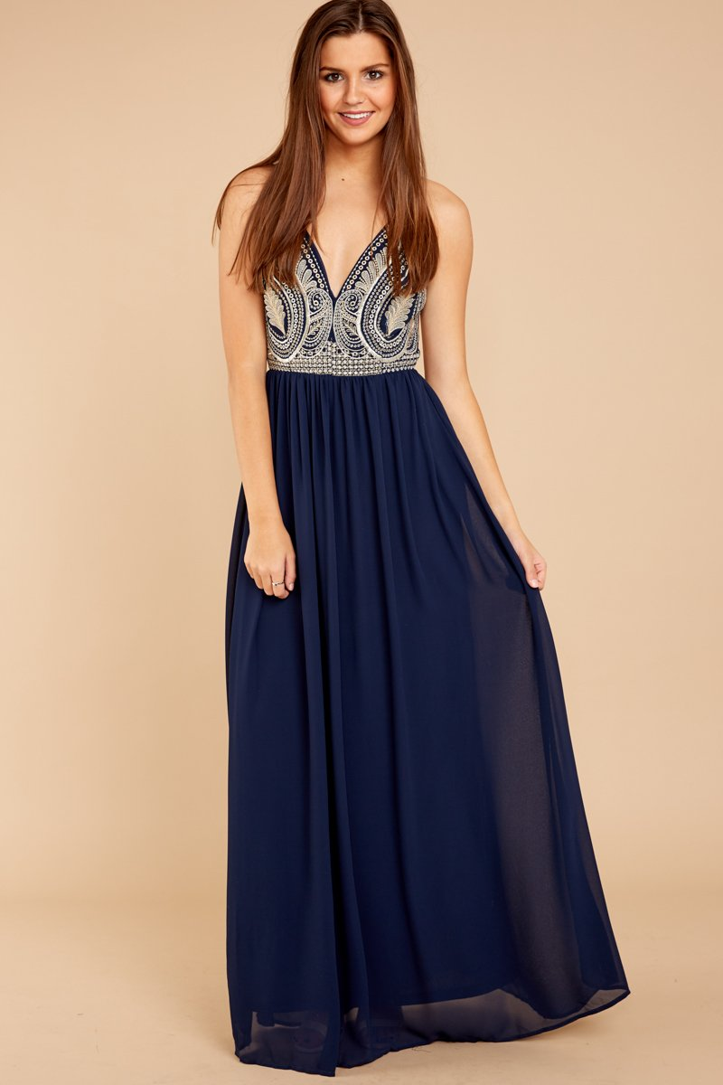 Navy Blue Maxi Dress elegant navy blue dress - maxi dress - formal dress - $62.00 - red dress FPEABAH
