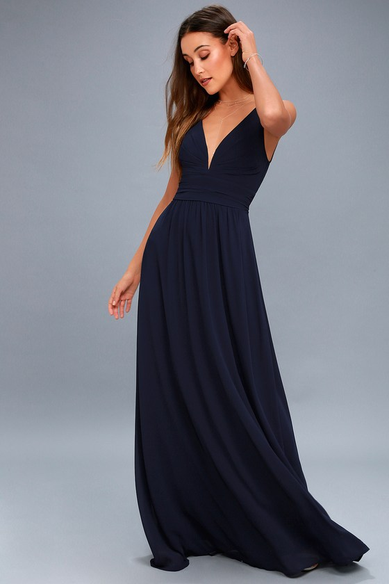 Navy Blue Maxi Dress for Gorgeous and Elegant Looks