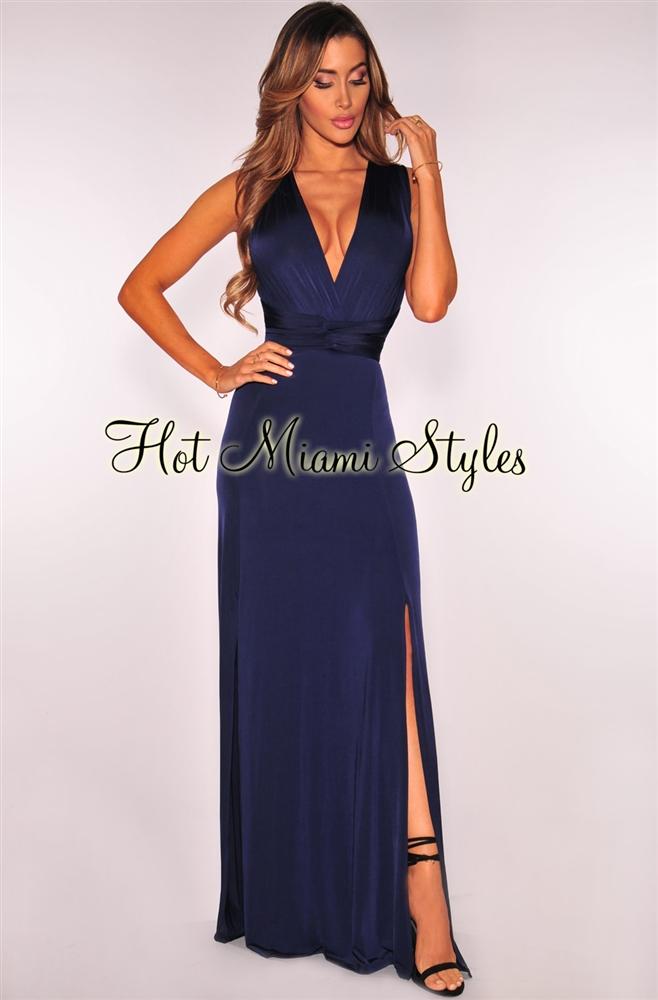 Navy Blue Maxi Dress navy blue double slit multi wear maxi dress BWFDILF