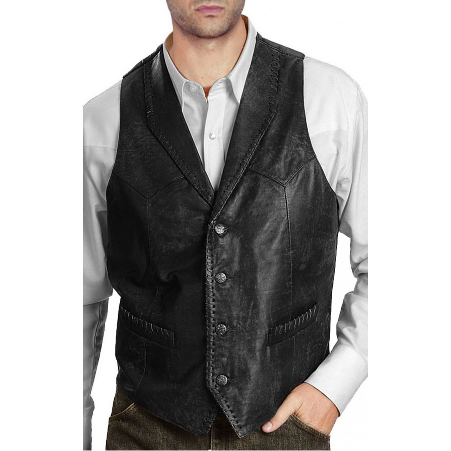 new design menu0027s vintage black leather vest ORWKNJP