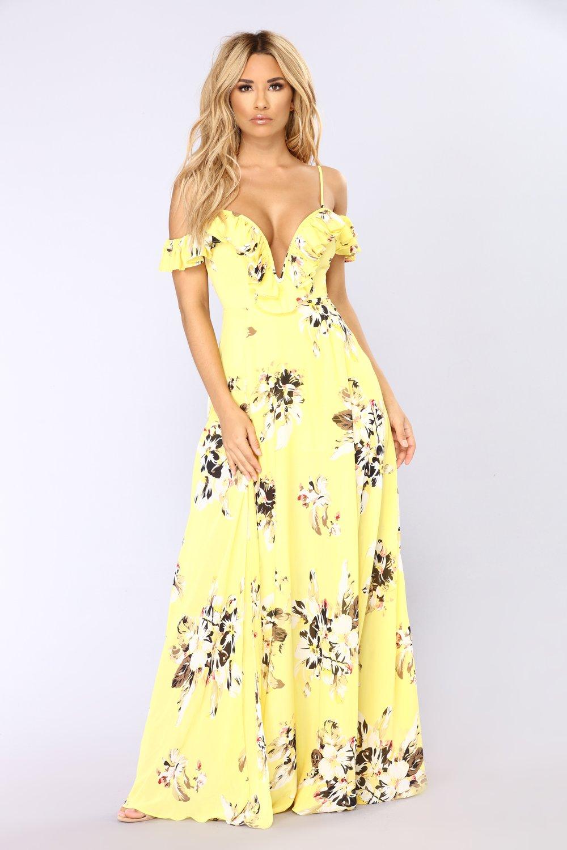 newport beach floral dress - yellow KZQLEYF
