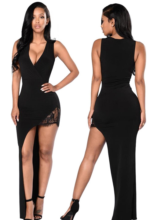 Nightclub Dresses black club dresses - v-neck sleeveless lace dress DPVGQRL