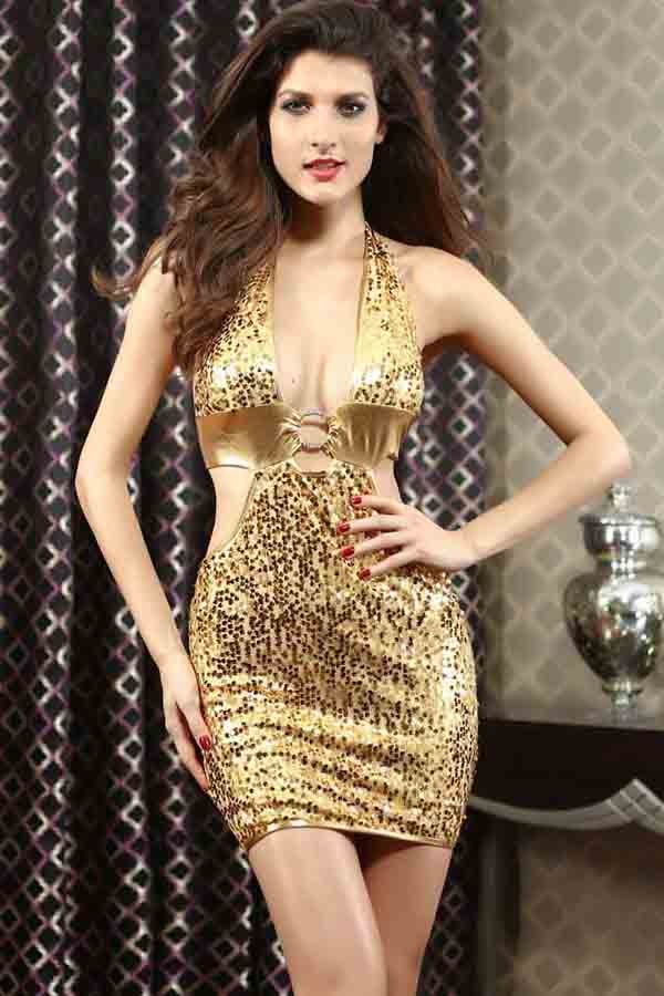 Nightclub Dresses sequins o ring halter backless sexy nightclub dress ESRWCRF