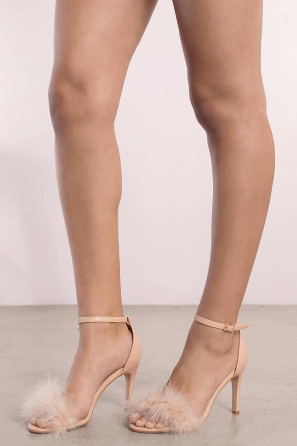 nude shoes penelope nude feather trim heels ... ZUJFCZU