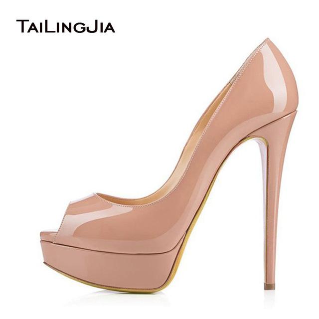 nude shoes women pumps 2017 nude platform heels peep toe extreme high heel shoes sexy  ladies HGFSCRJ