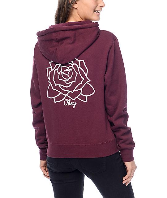 obey mira mosa burgundy hoodie ... NWHYMXE