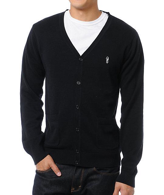 obey noble black cardigan sweater ... GLCYCVL