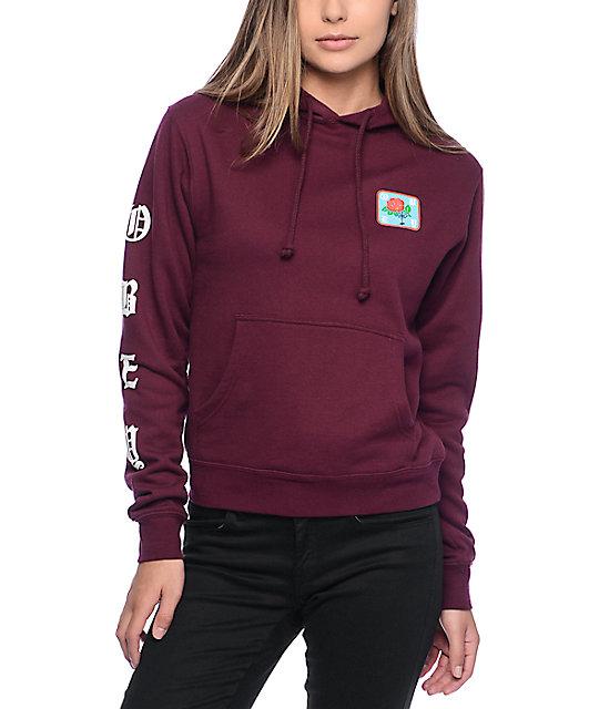 obey spider rose burgundy hoodie ... FLRDQWL