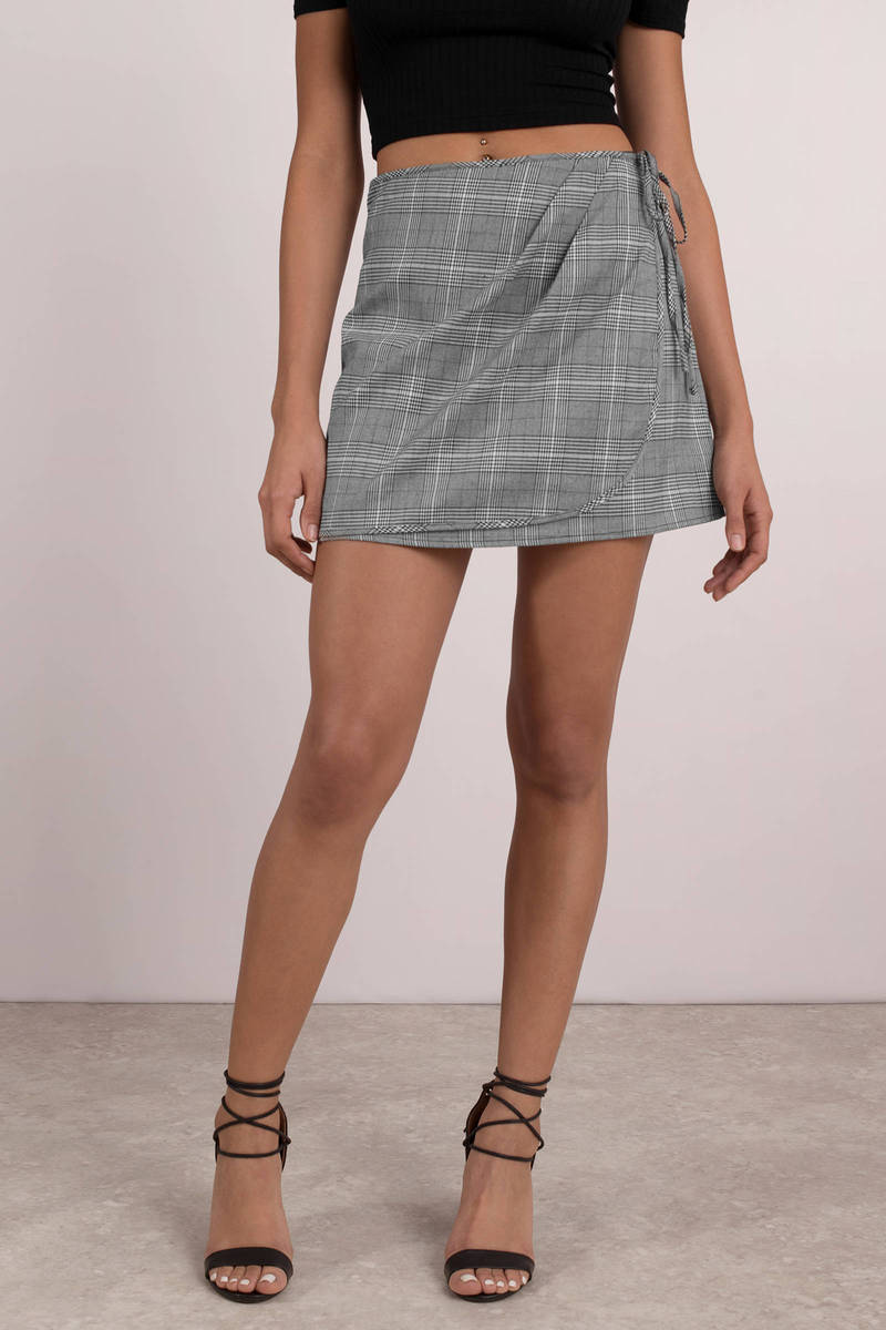 off the grid grey multi plaid wrap skirt YGPGZSY