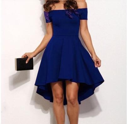 off the shoulder royal blue dresses GTUBKIO