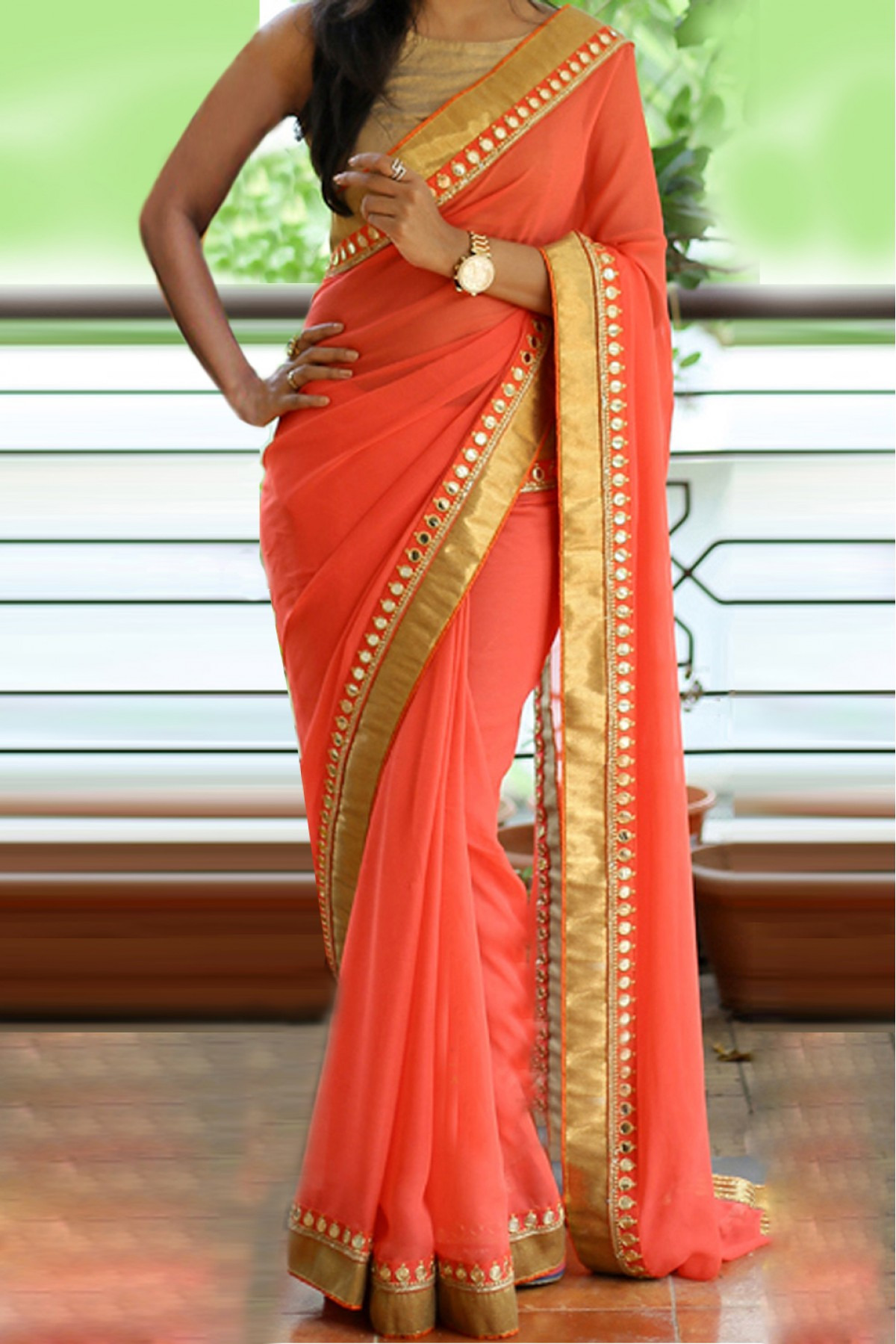 Party Wear Sarees 60 gm georgette party wear saree in peach colour BHKFLLH