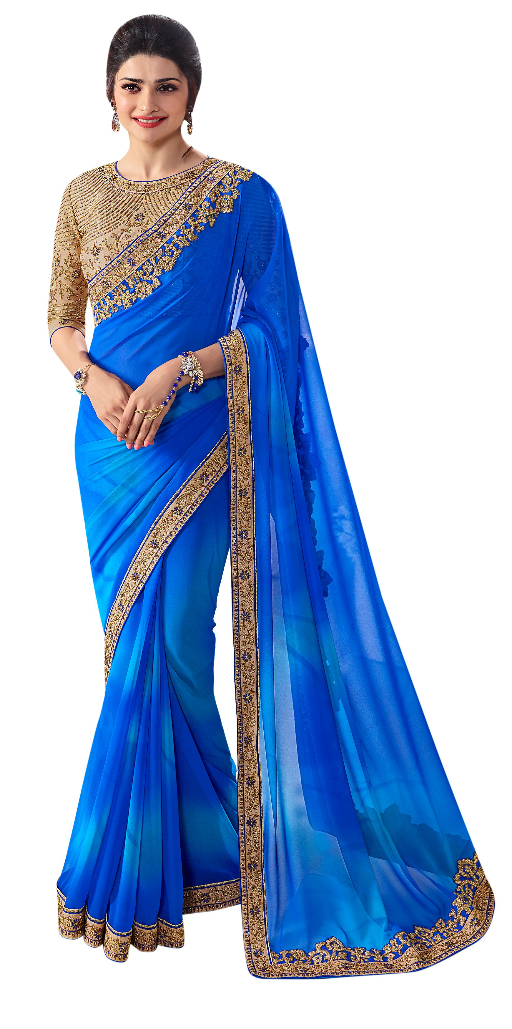 Party Wear Sarees blue georgette embroidered party wear saree YZGCHUT