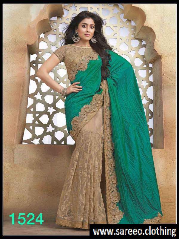 Party Wear Sarees multicolor partywear saree reception bollywood indian designer sari wedding  1524 b GVMLXWS