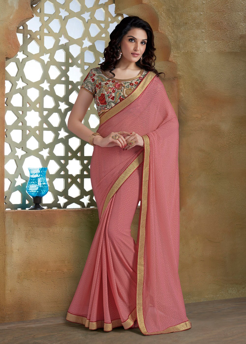 Party Wear Sarees pink unique indian party wear georgette saree with embroidered blouse a16093 HMGOQDL