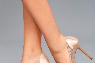 peep toe pumps alannah nude lace peep-toe heels UGAJFRA