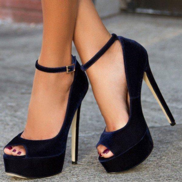 peep toe pumps navy velvet heels peep toe ankle strap pumps with platform image 1 ... UAAUUXN