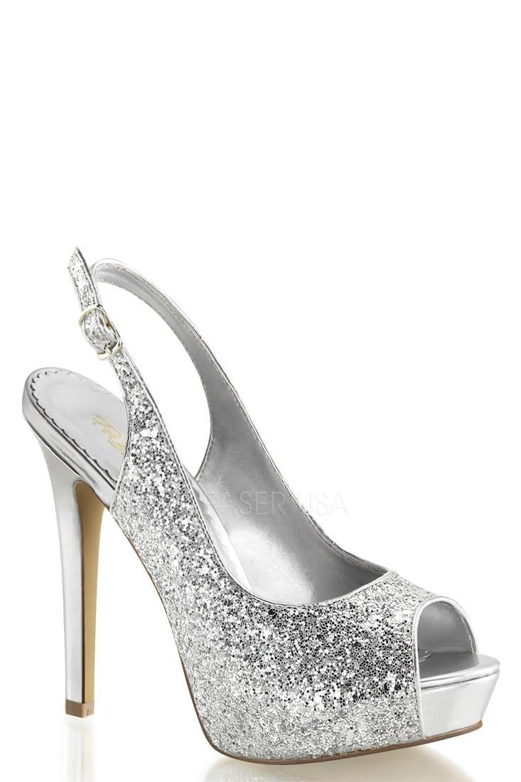 peep toe pumps silver peep toe sling back pump high heels glitter WPVKXMC
