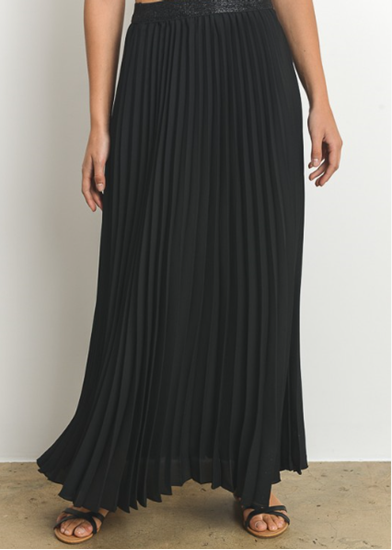 perfectly pleated maxi skirt black final sale! MIOKWYF