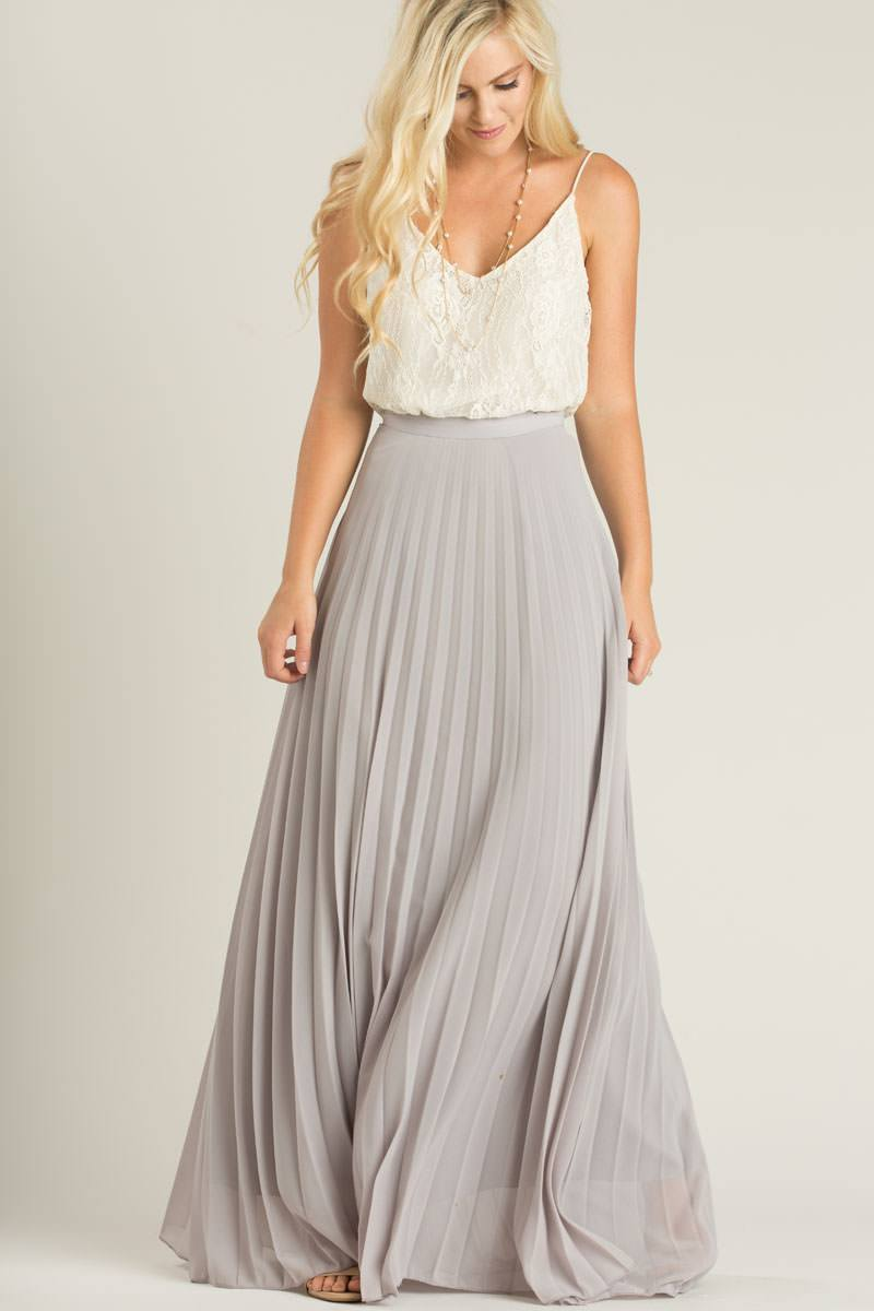 petite simone grey pleated maxi skirt PBQQEYE