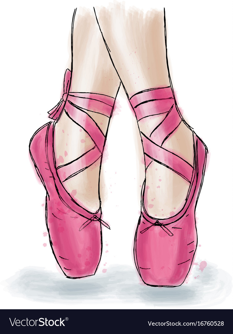 pink ballerina shoes ballet pointe shoes with vector image ZHMJNJY