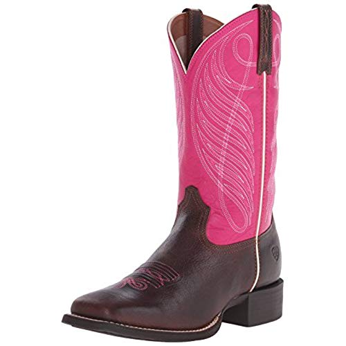 Pink Cowboy Boots ariat womenu0027s round up wide square toe western cowboy boot, wicker/hot pink,  8.5 m SGZYQOJ