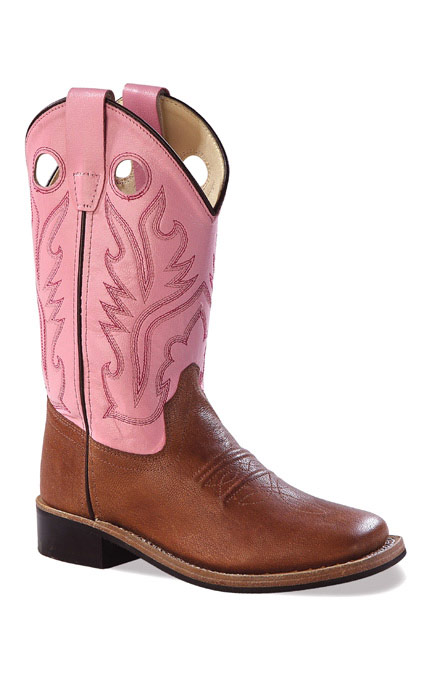 Pink Cowboy Boots old west childrenu0027s broad square toe leather western boots - pink/ brown ZVYEJTK