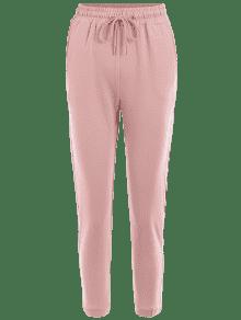 Pink Pants ... striped drawstring sports pants ... SMDNYWZ
