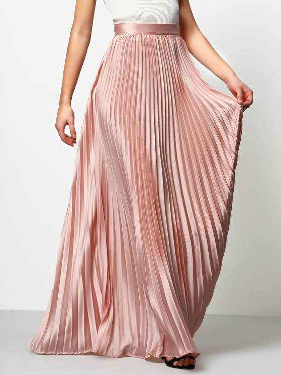 pink pleated maxi skirt EHWEREQ