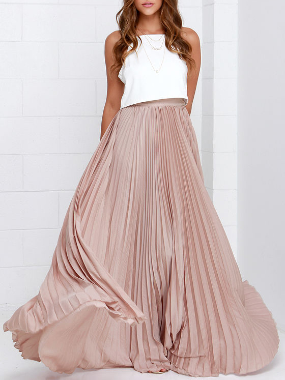 pink pleated maxi skirt pictures EVBUVBV