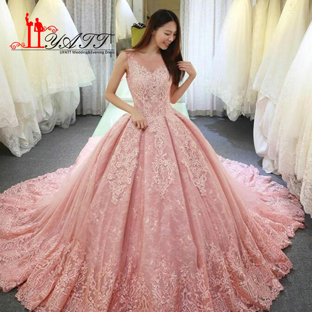 Pink Wedding Dresses 2018 new pink wedding dresses elegant sheer v neck sleeveless lace beaded  court train EHYDTEX
