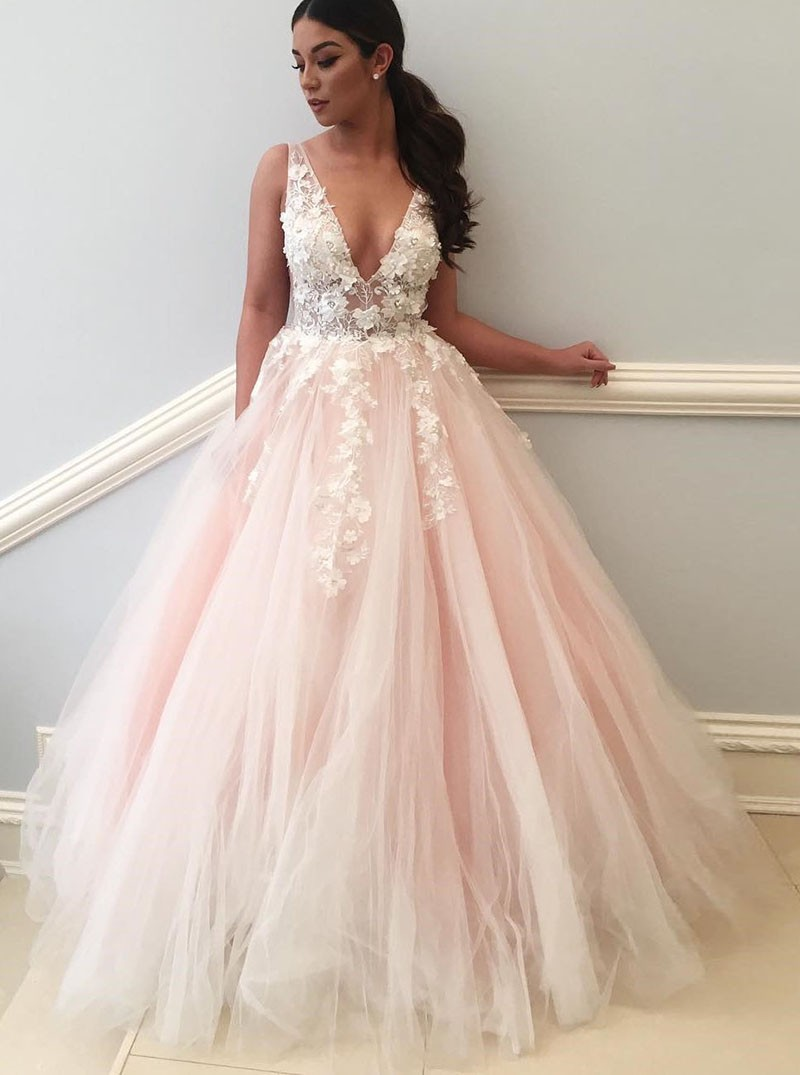 Pink Wedding Dresses ball gown deep v-neck backless light pink tulle appliques wedding dress XNYXUHP