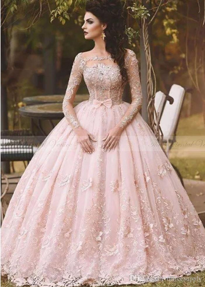 Pink Wedding Dresses discount vestido de novia 2017 country blush pink lace ball gown wedding  dress long FSOCBDX