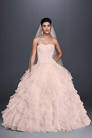 Pink Wedding Dresses long ballgown formal wedding dress - oleg cassini BTIAVKX