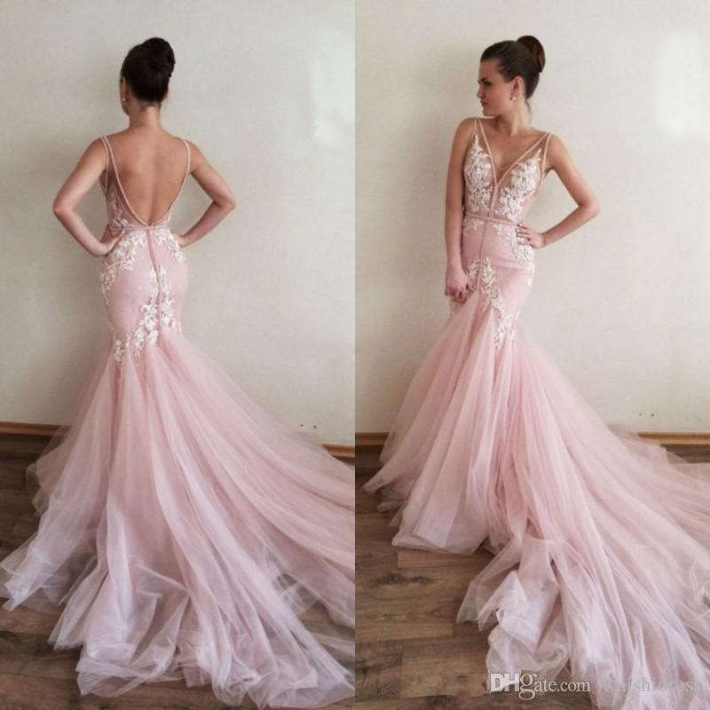Pink Wedding Dresses sexy blush pink mermaid wedding dresses v neck sleeveless backless beads  lace appliques wedding MWDNXQH