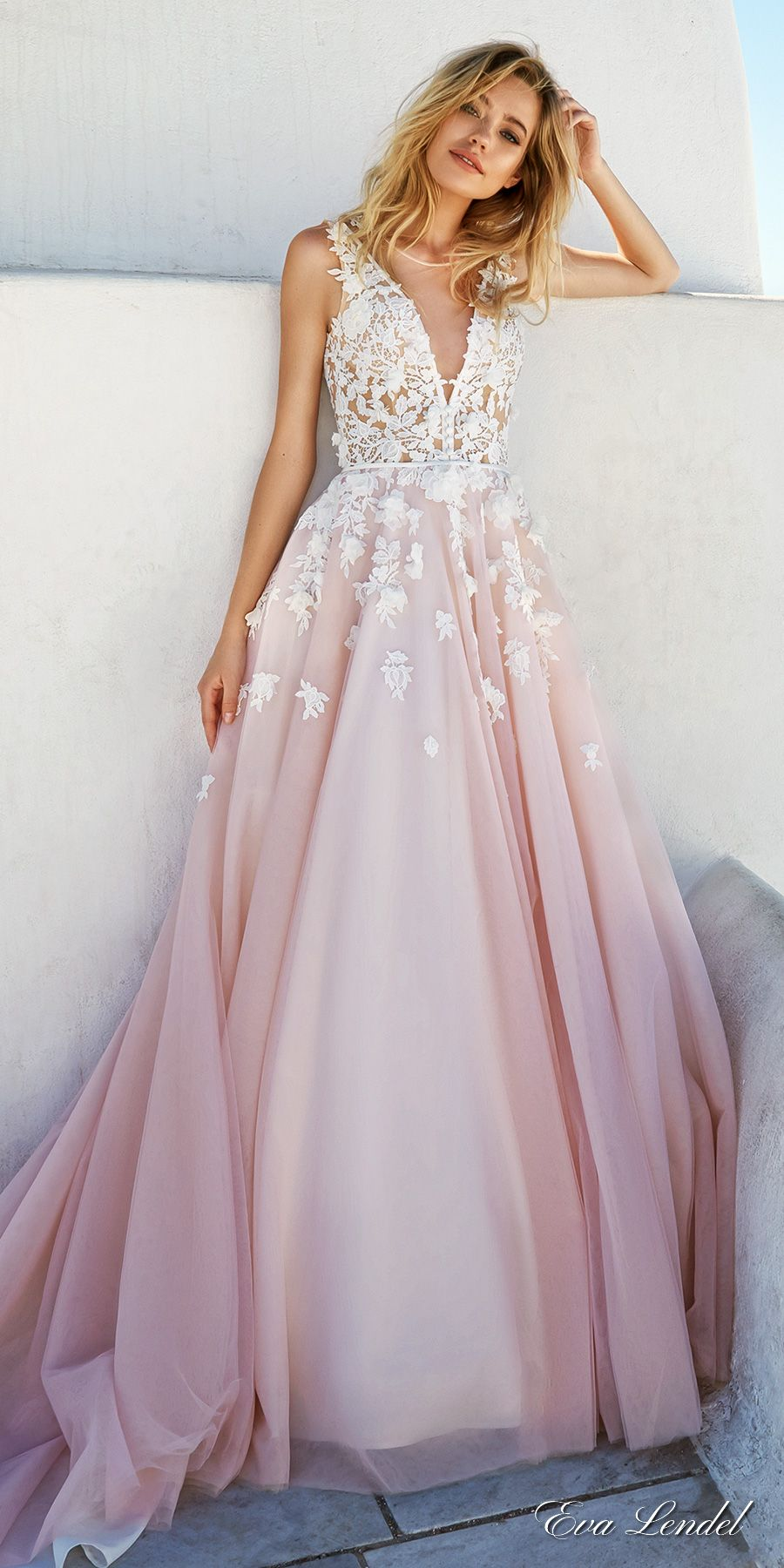 Pink Wedding Dresses vestido para festa de noivado_ eva lendel 2017 bridal sleeves deep v neck  heavily MUIBPIF