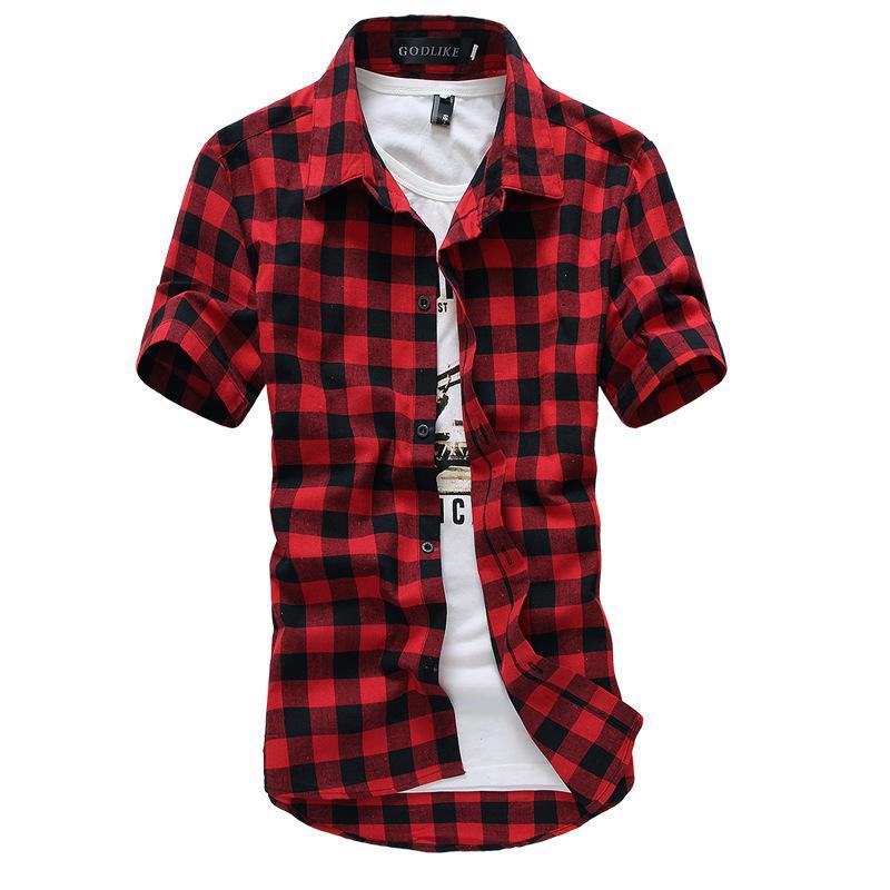 plaid shirts 2018 wholesale red and black plaid shirt men shirts 2016 new summer fashion  chemise FGJMMHA