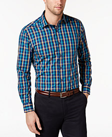 plaid shirts bar iii menu0027s classic/regular fit multi-check dress shirt, created for  macyu0027s ALNRCOU