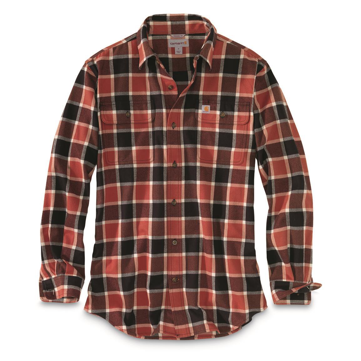 plaid shirts carhartt menu0027s hubbard plaid shirt, chili HLSRTVK