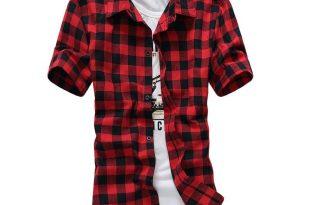 Plaid Shirts for Men 2018 wholesale red and black plaid shirt men shirts 2016 new summer fashion  chemise EBCSXTF